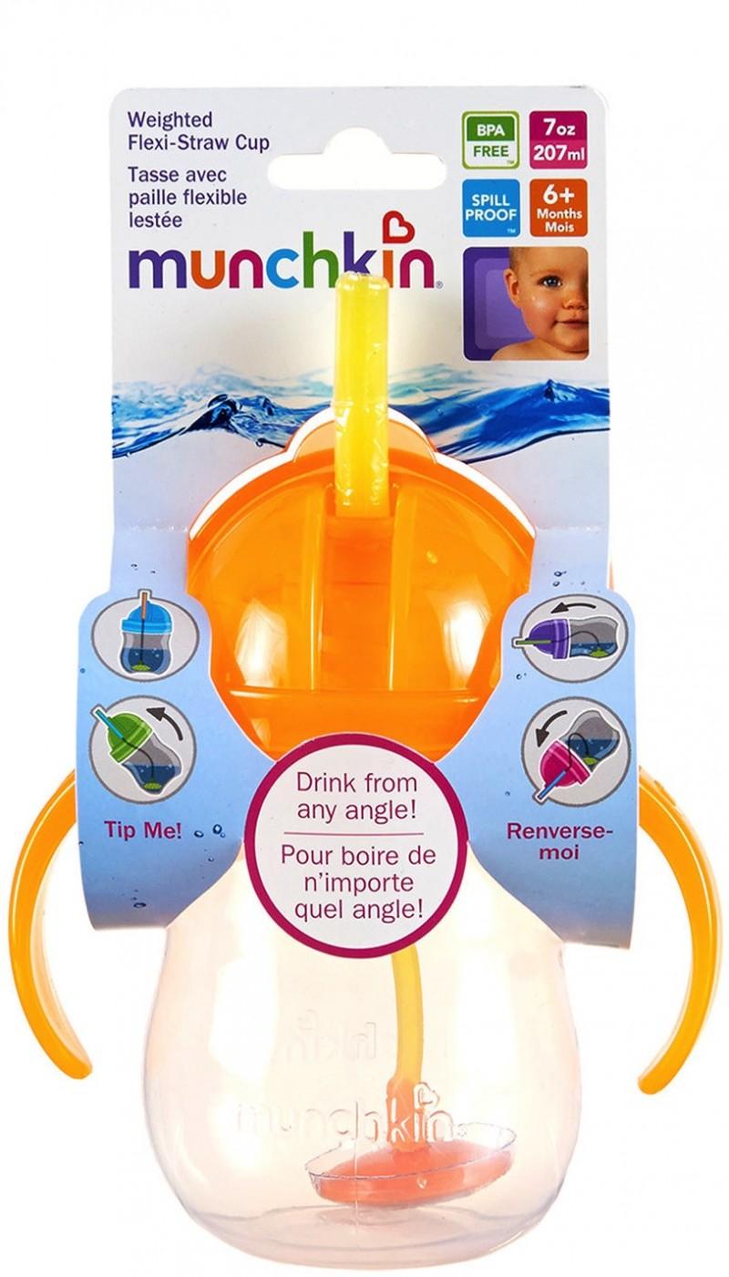 Munchkin Click Lock Tip Amp Sip Cup With Straw Orange 1516